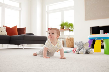 baby crawling on white carpet in living room