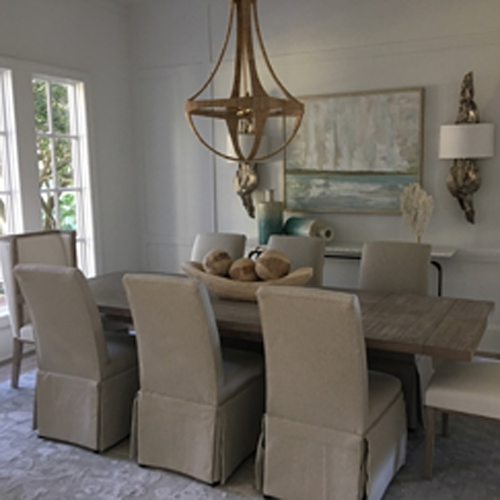 dining room with grey and white accents