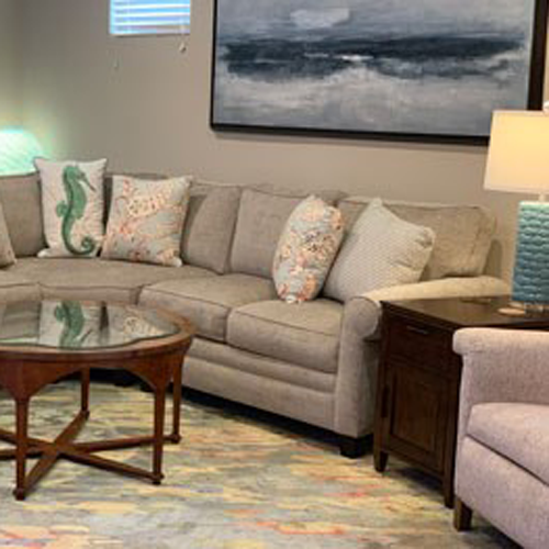 grey sofa with blue accents