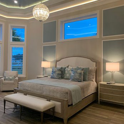 white and light blue themed bedroom