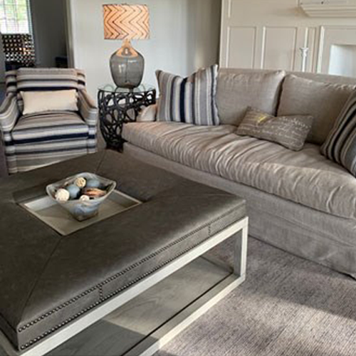 grey couch and coffee table