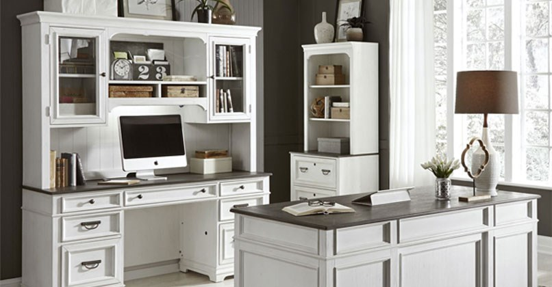 white Liberty desk with shelving