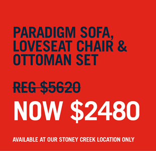 shop our paradigm sofa, loveseat chair and ottoman set now $2480