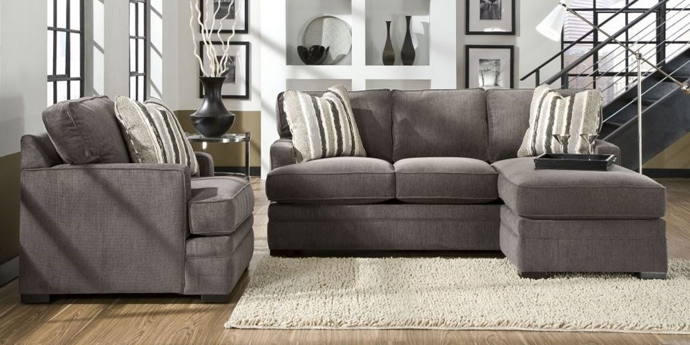 grey sectional and chair