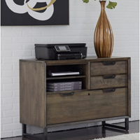Wooden nightstand with plant