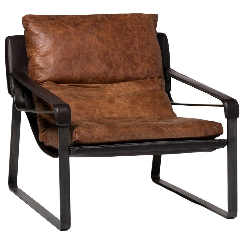 Urban Industrial Leather Accent Chair
