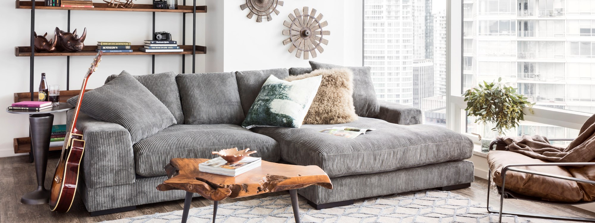 plunge gray sectional