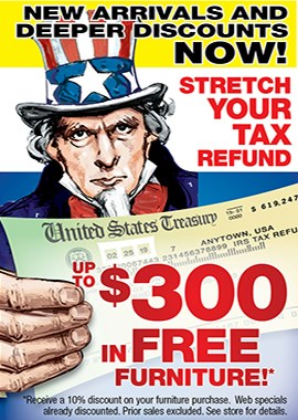Stretch Your Tax Refund with up to $300 in FREE Furniture!