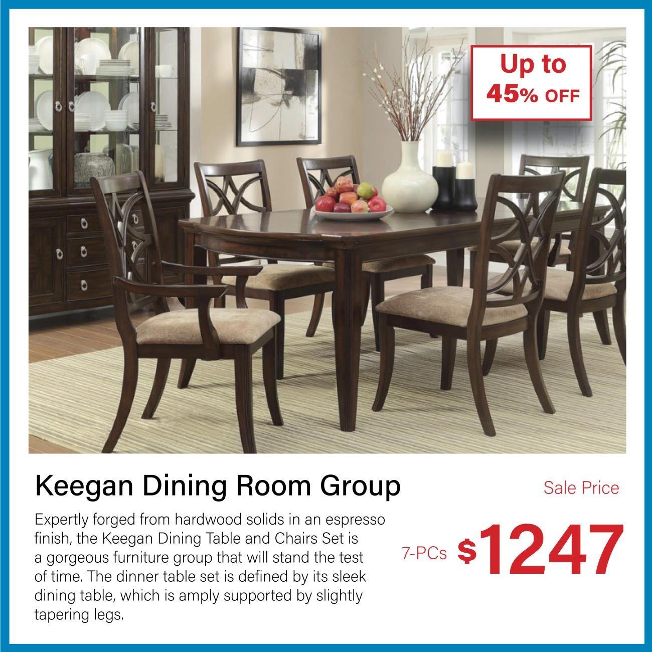 Keegan espresso 7-pc dining set