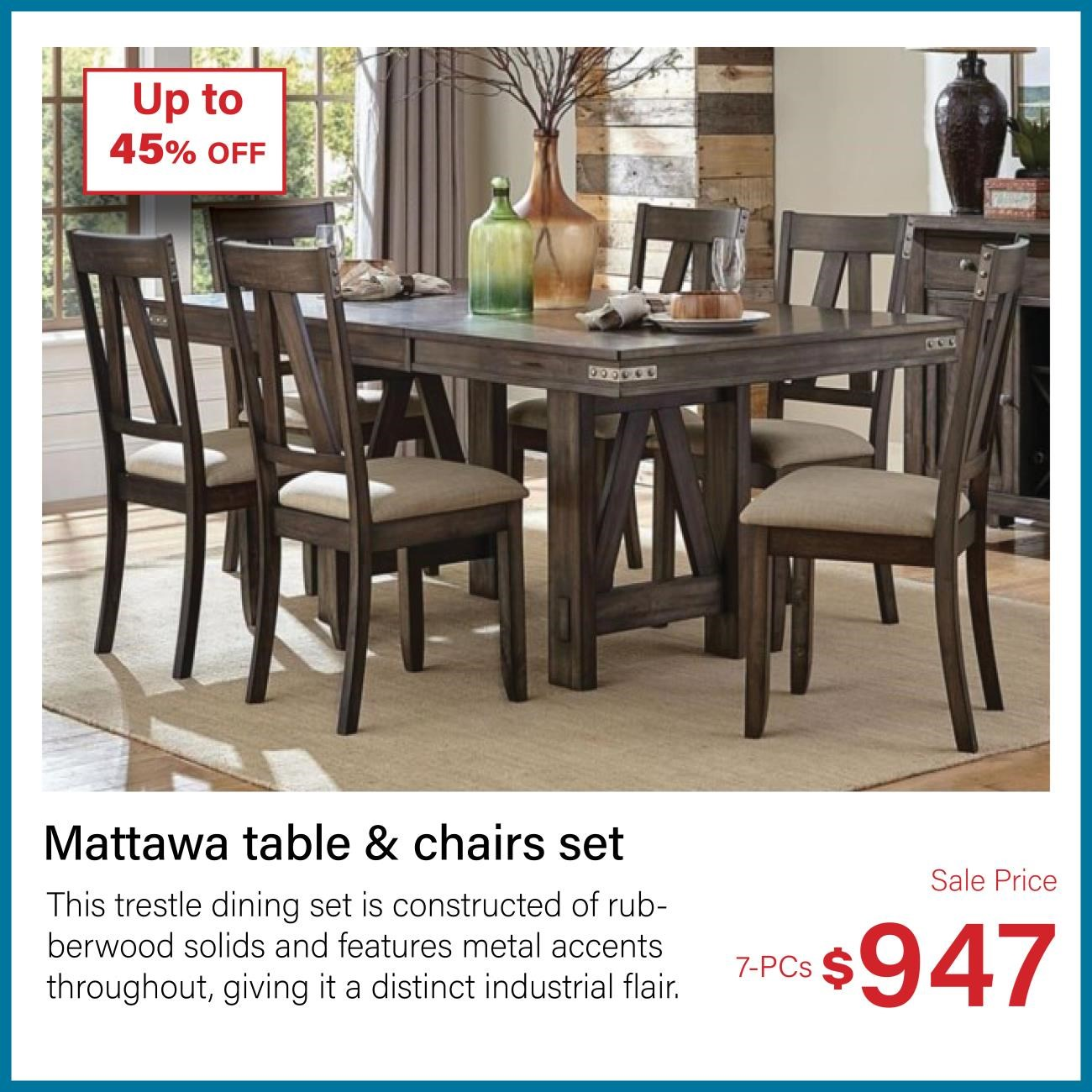 mattawa 7-pc table and chair set