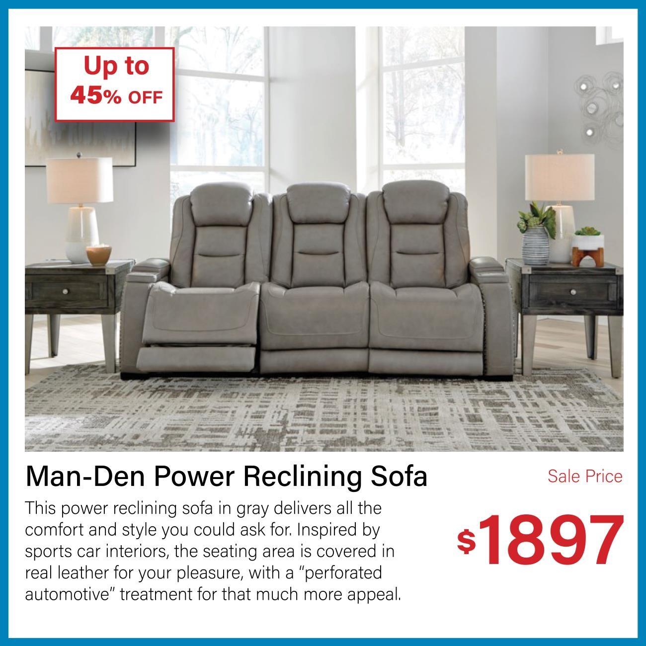 man-den power reclining sofa
