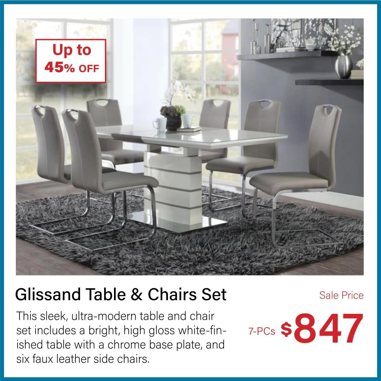 glissand 7-pc table and chair set
