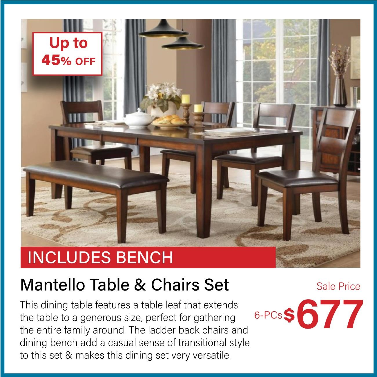 mantello table and chair set