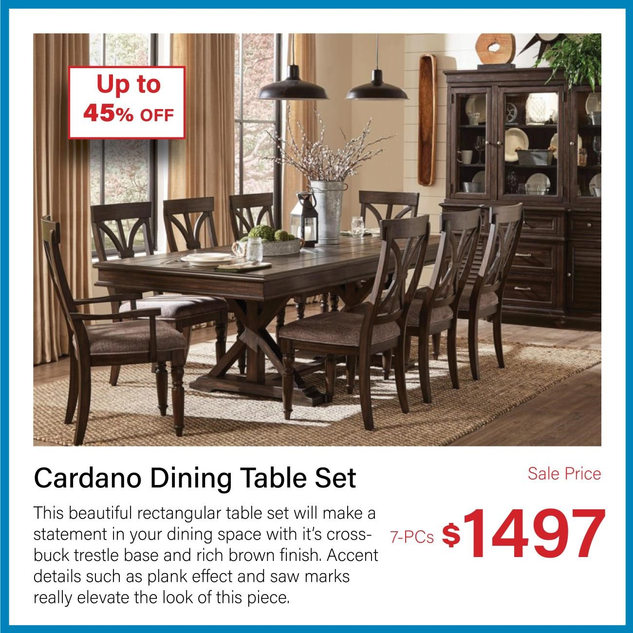 cardano 7-pc dining table set