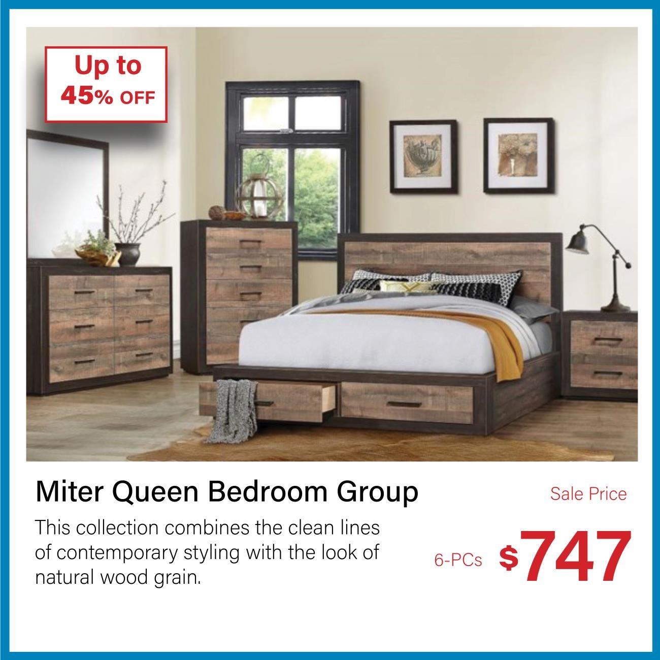 miter queen bedroom group