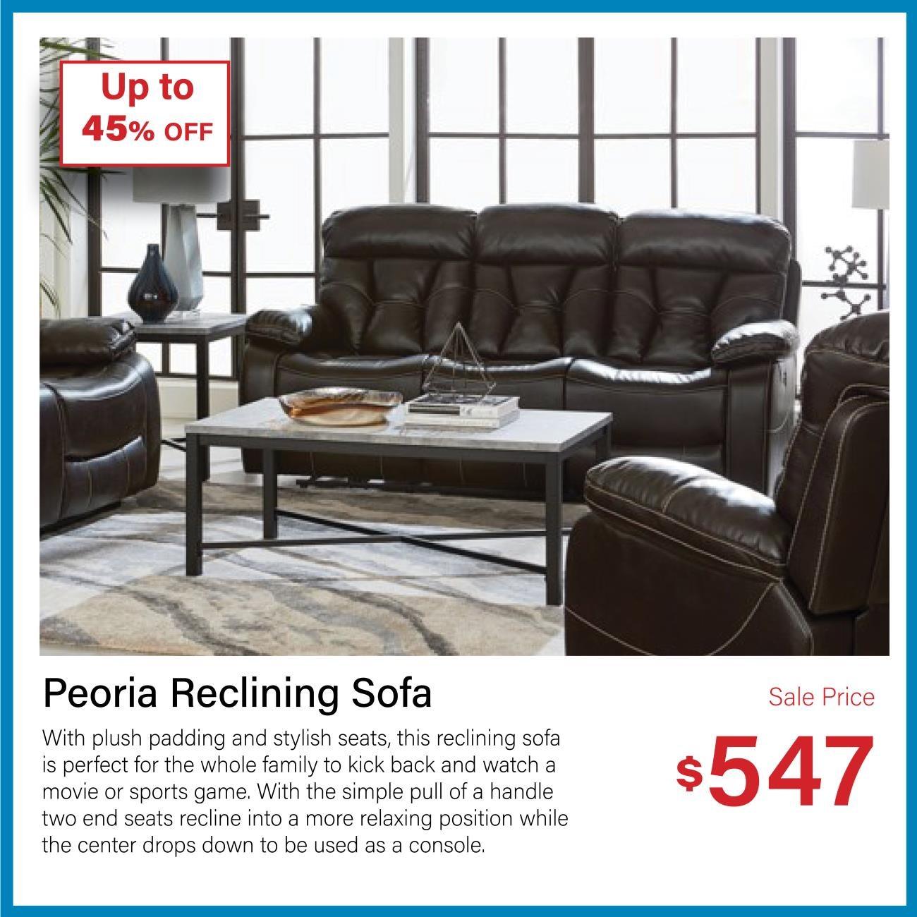 Peoria reclining sofa