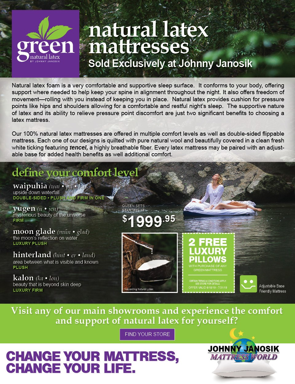 Green Natural Latex Mattresses Sold Only At Johnny Janosik