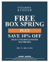Stearns & Foster Free Box Spring and Save 10%