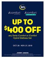 Up To $400 Off Serta iComfort and iComfort Hybrid Mattresses