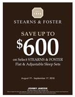 Save up to $600 Off select Stearns & Foster Sleep Sets