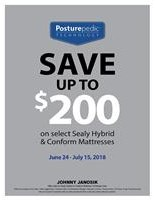 Save up to $200 Off any Sealy Hybrid or Conform Mattress
