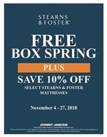 Get a Free Box Spring Plus save 10% off Stearns & Foster Mattresses