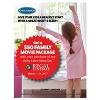$50 Movie Package with purchase of Englander Ruby Latex Sleep Set