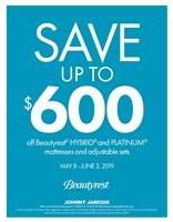 Save up to $600 off Beautyrest HYBRID & Platinum Adjustable Sleep Sets