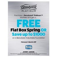 Simmons Beautyrest Platinum Free Box Spring or Save up to $1000 on Adjustable Base