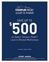 Save up to $500 Off any Tempur Breeze or Luxe Sleep Set