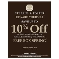 10% Off Stearns & Foster and Free Box Spring