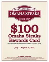 $100 Omaha Steaks Rewards Card with purchase