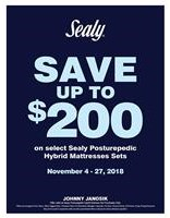Save Up To $200 off Sealy Hybrids