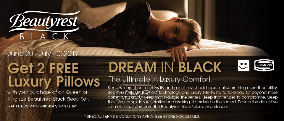 2 Free Luxury Pillows with select Beautyrest Black Set Purchases
