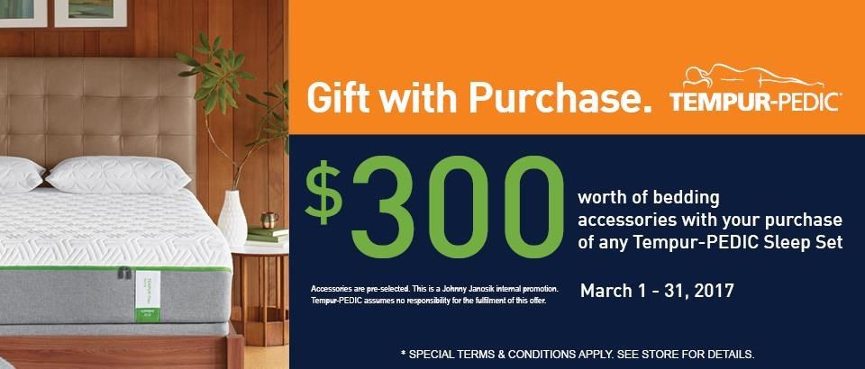 Get $300 in Bedding Accessories with purchase of any Tempur-PEDIC Sleep Set