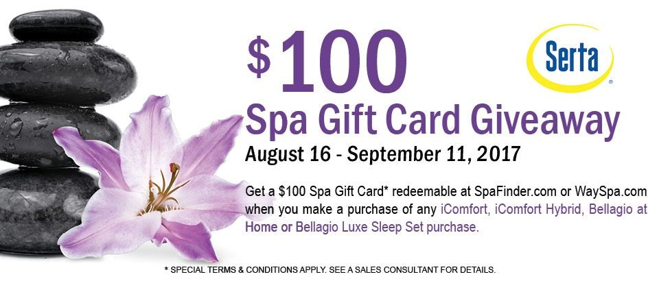 Serta $100 Spa Gift Card Giveaway
