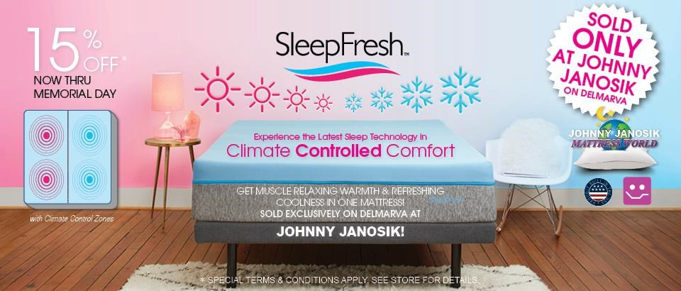 Introducing SleepFresh. Get 15% Off ONLY AT JOHNNY JANOSIK
