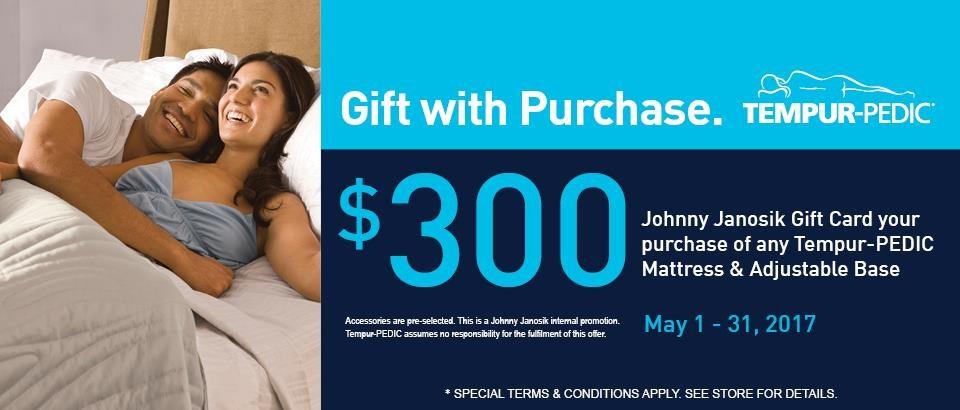 $300 Gift Card with Tempur-Pedic Mattress & Adjustable Base Purchase