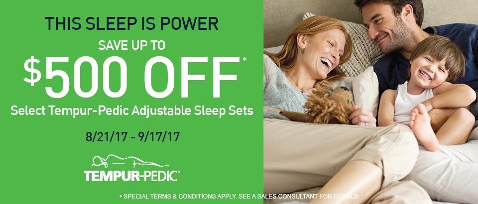 $500 off Select Tempur-Pedic Adjustable Sleep Sets