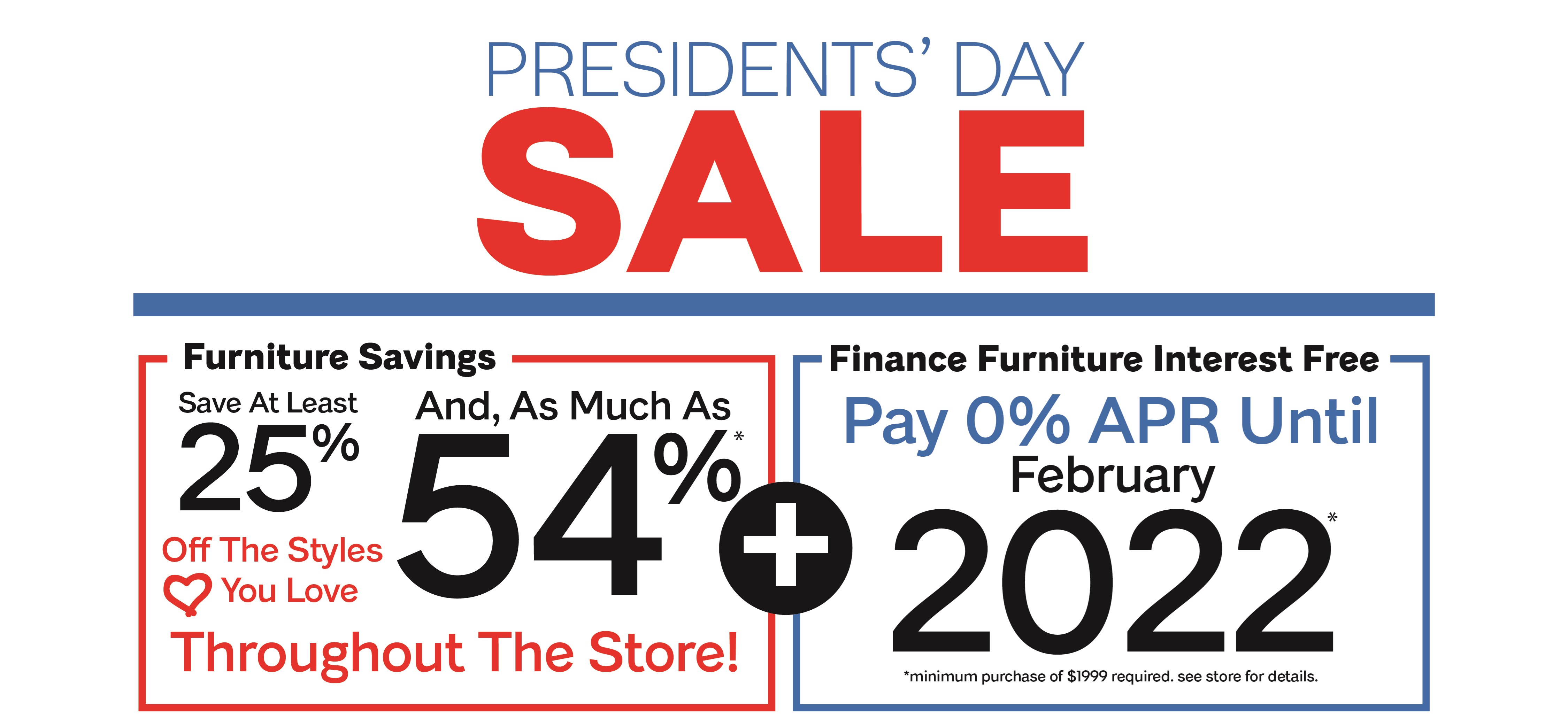 Presidents' Day Furniture Browse Page