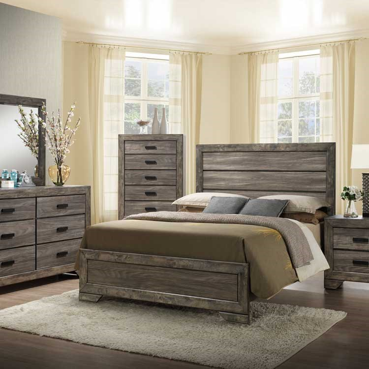 grey rustic bedroom group