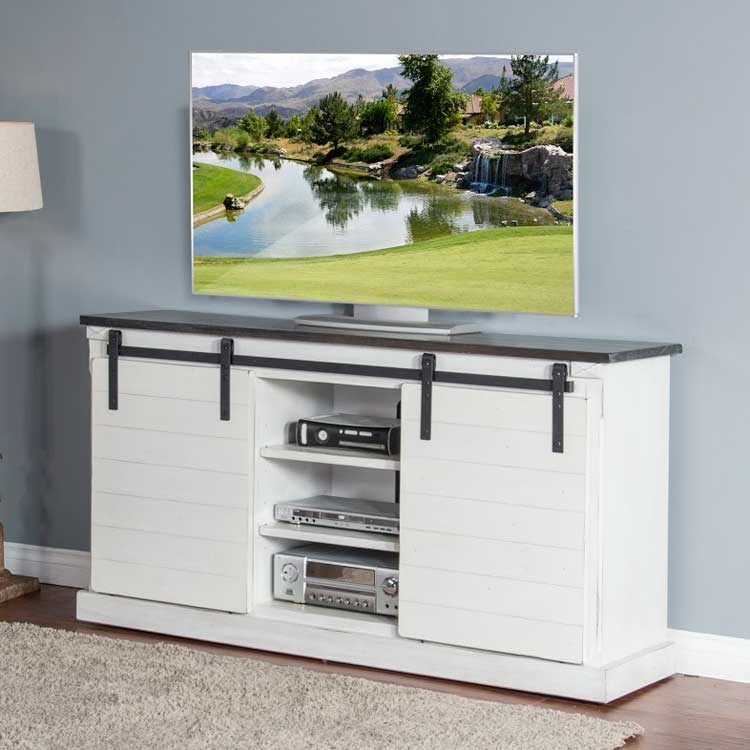 white farmhouse tv stand