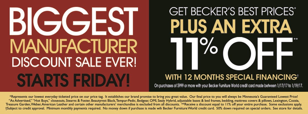 Biggest Discount (Starts Friday) January 2017
