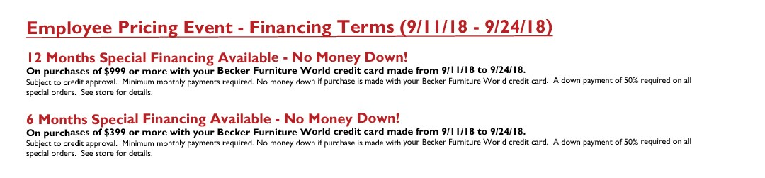 Employee Pricing Event (Final Days) Sept. 2018