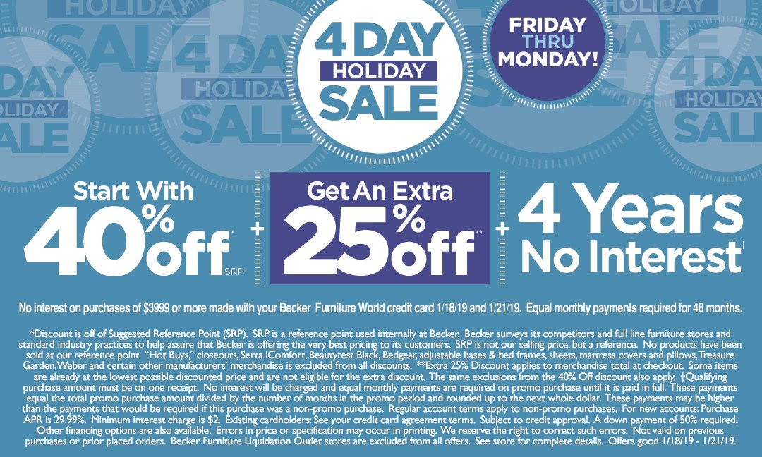 4 Day Holiday Sale (4 Days) 2019