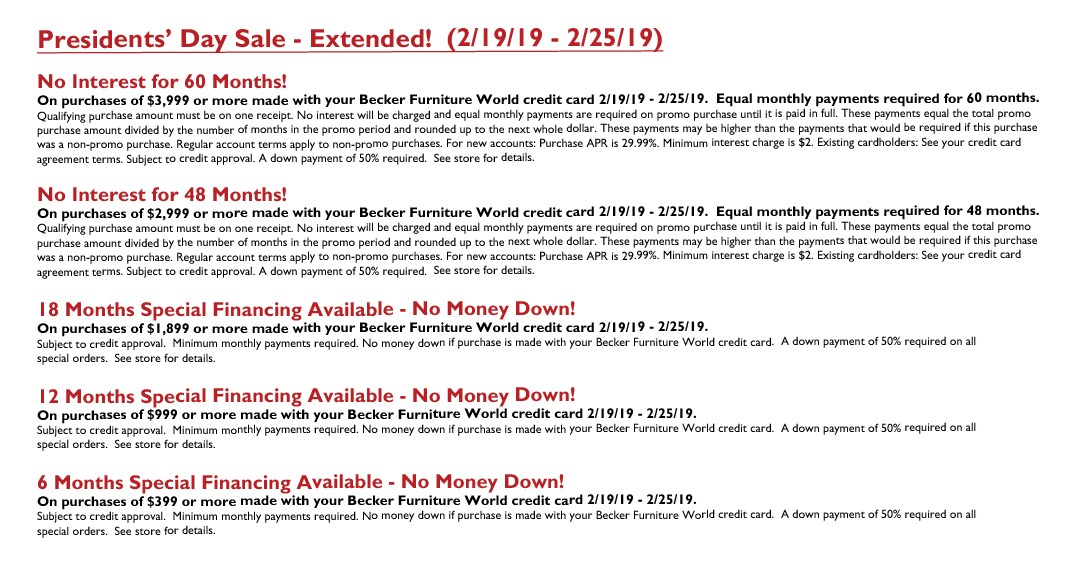 Presidents' Day Sale (Extended) 2019