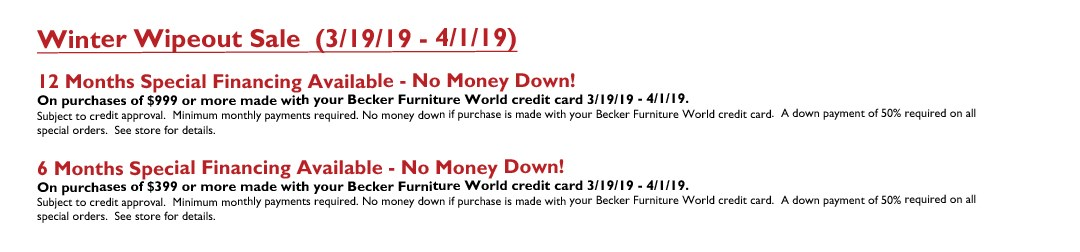 Winter Wipeout Sale (Week 1) March 2019