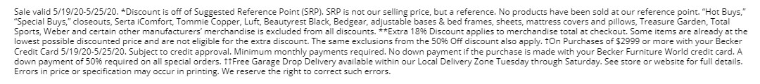 Sale Details and Exclusions