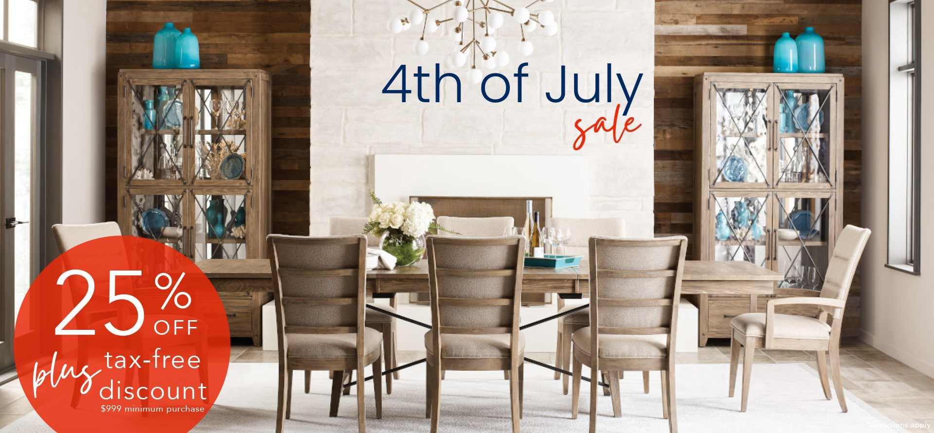 4th of july sale 25% off plus tax free discount