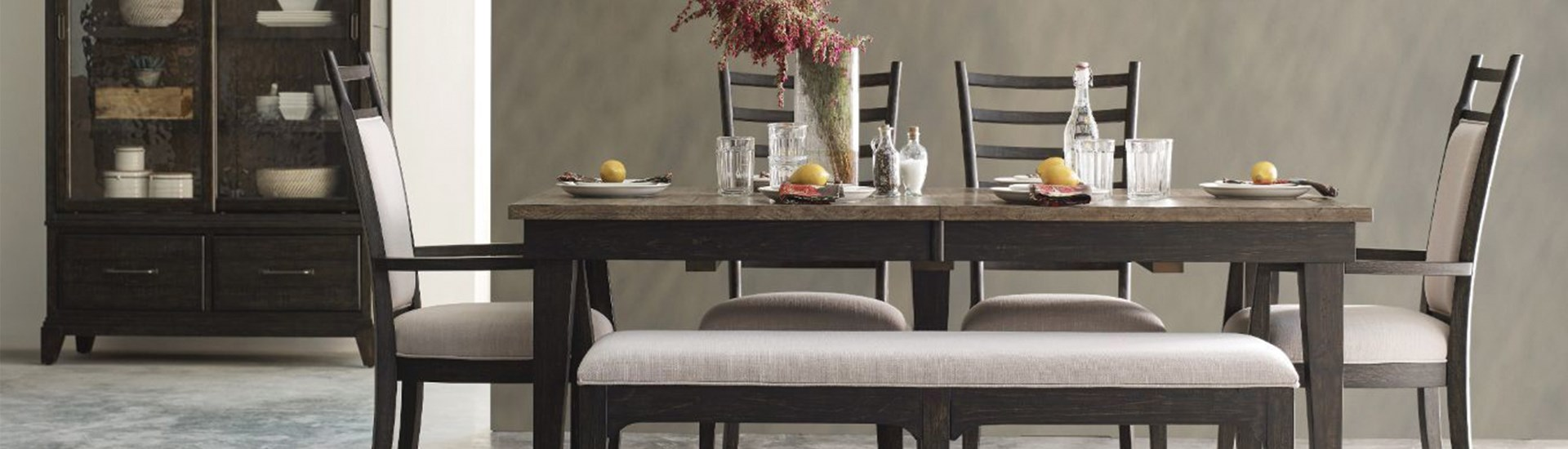dining room table and chair set with a bench